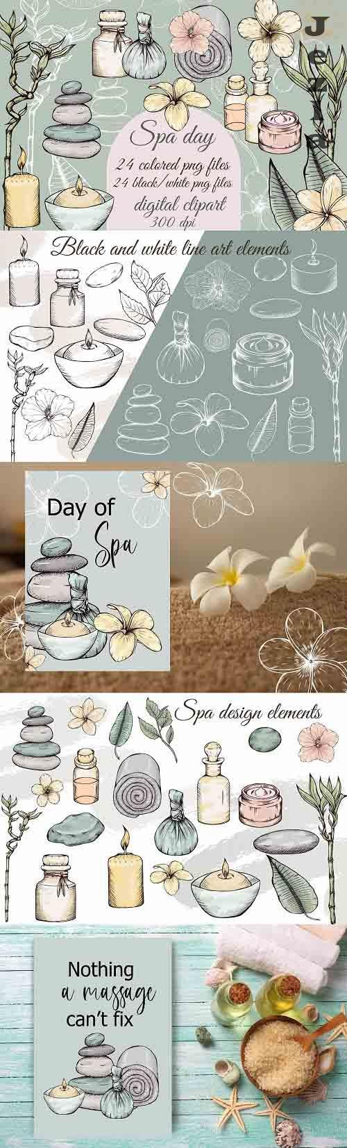 Spa day clipart, wellness png, beauty and selfcare clip art - 1411309