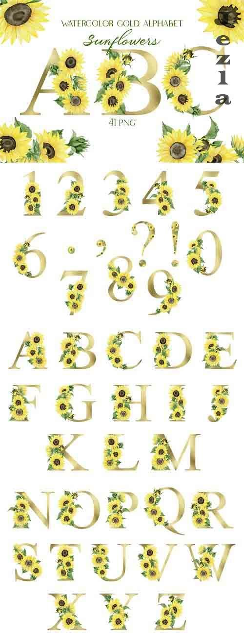 Watercolor Gold Alphabet with Sunflowers   Sublimation - 1411395
