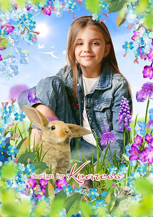 Многослойная фоторамка коллаж с кроликом и мышкой для детских фото портретов