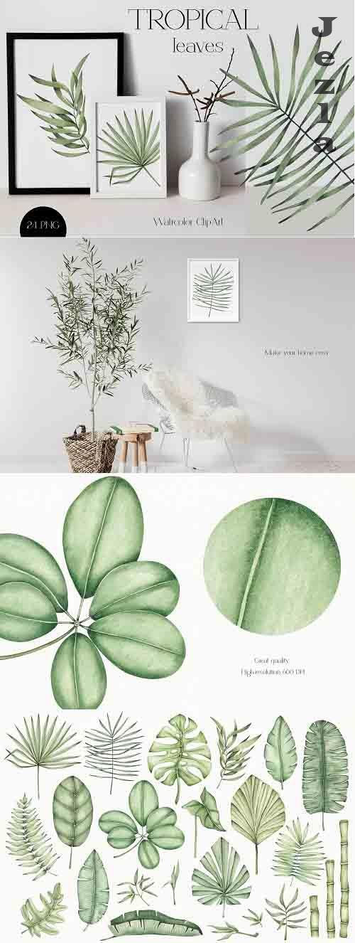 Watercolor ClipArt Tropical Leaves - 1403369