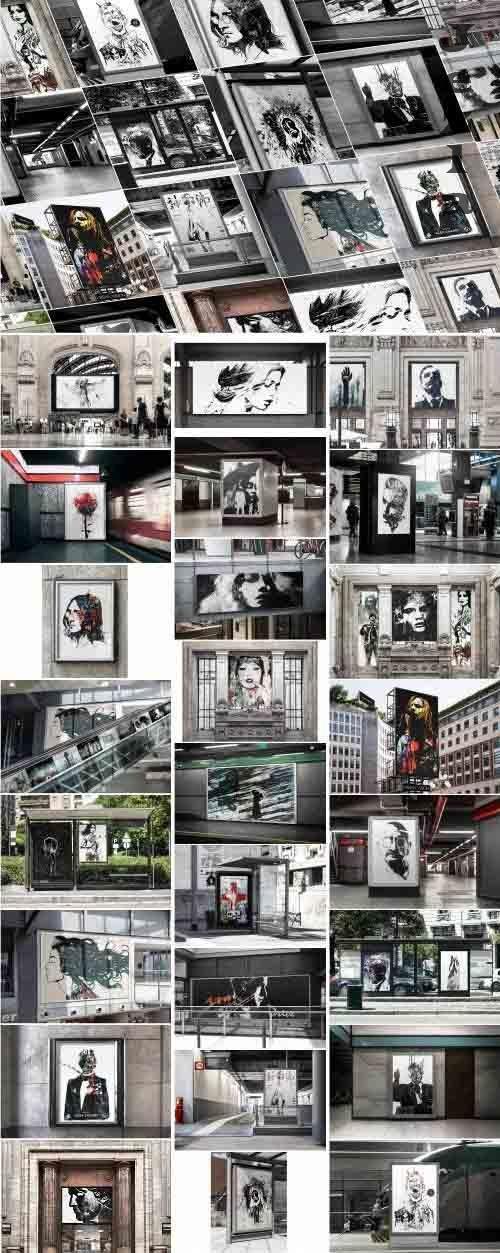 25 Advertising Poster Mockups Bundle - 2881456