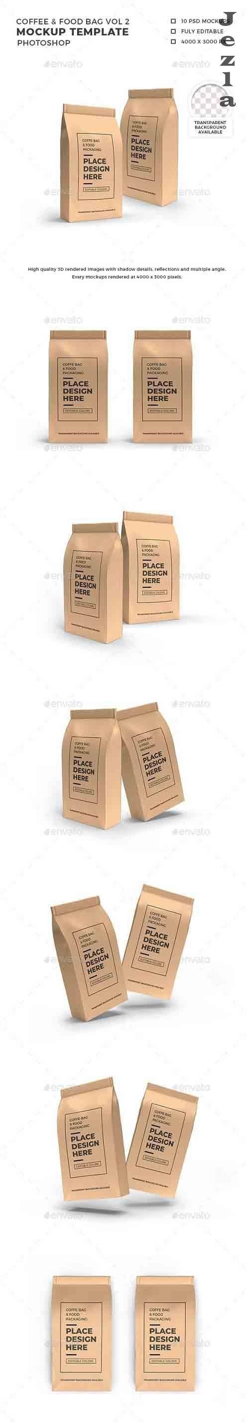Food Paper Bag Packaging Mockup Template Vol 2 - 32513021