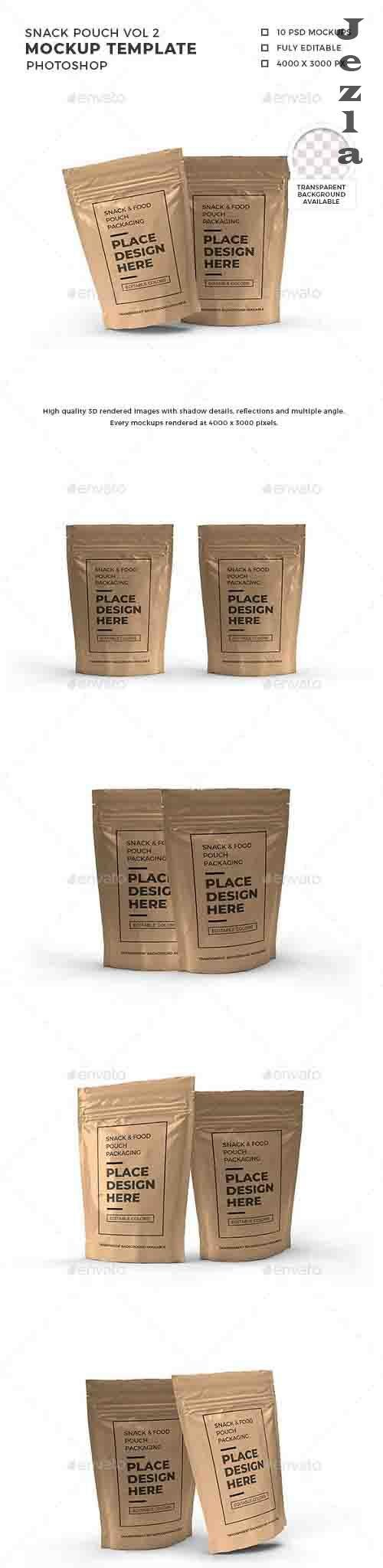 Snack Pouch Packaging Mockup Template Vol 2 - 32588901