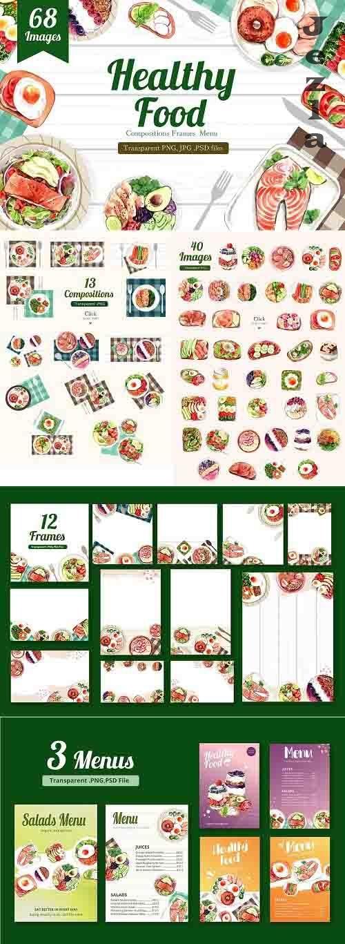 Healthy Food Clean Food Watercolor - 6221348