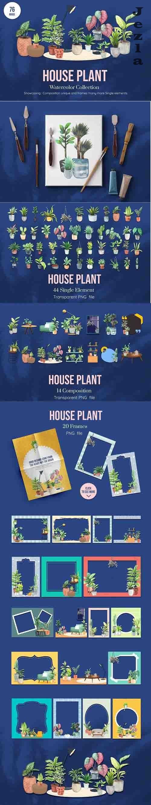 House Plants Watercolor set - 6221386