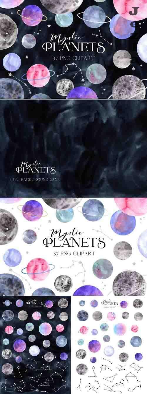 Space Planet Clipart. Watercolor planets and zodiac constell - 1422137