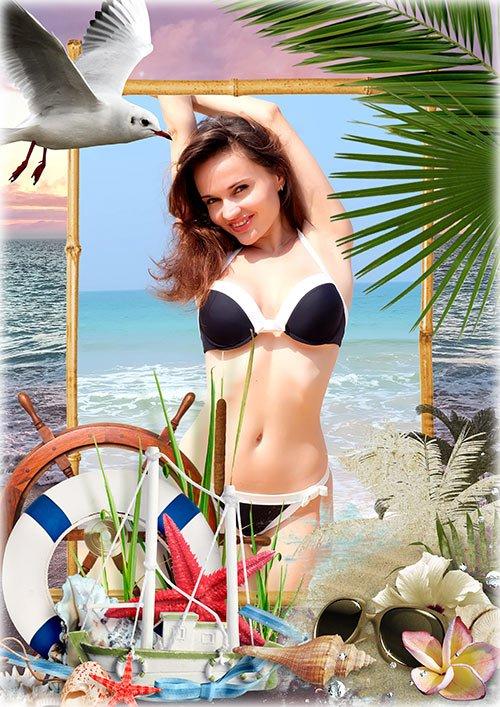 Рамка для фотошопа - Море, пальмы, чайки