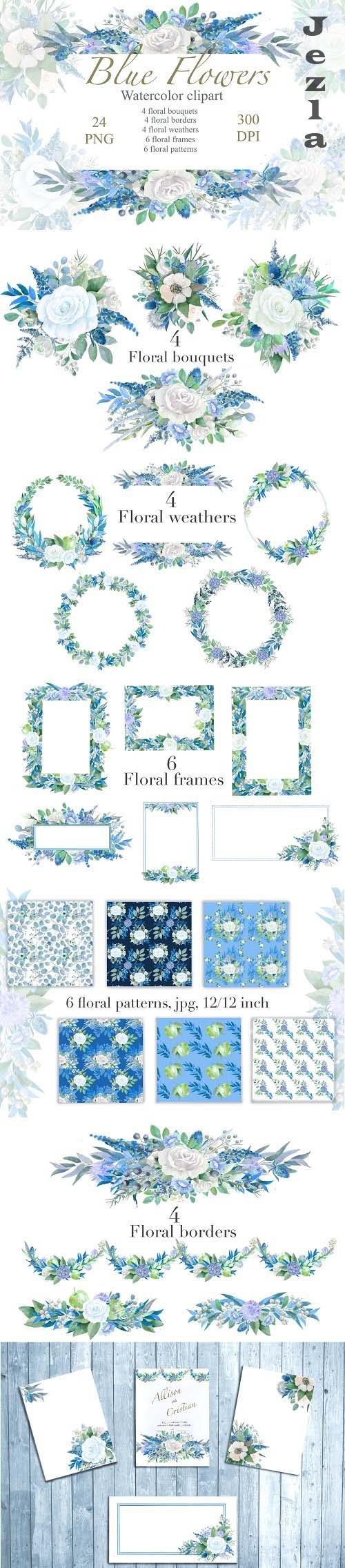 Blue Floral watercolor Clipart, Wedding Arrangements, Frames - 1425792