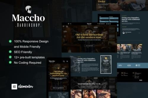 ThemeForest - Maccho v1.0.0 - Gentlemen Barbershop Elementor Template Kit - 32642790