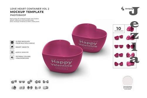 Valentine Love Heart Container Mockup Template Bundle 2 - 1425427