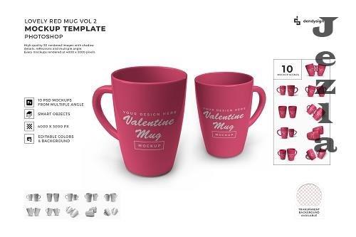 Red Drinking Mug Mockup Template Bundle 2 - 1425850