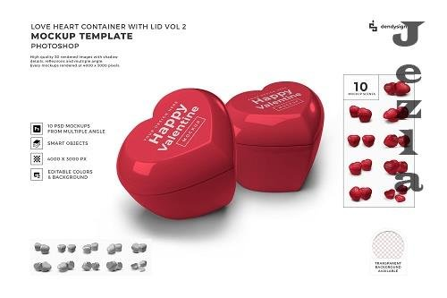 Valentine Love Heart Container Lid Mockup Template Bundle 2 - 1425518