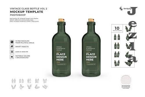 Vintage Glass Bottle Mockup Template Bundle 2 - 1426018