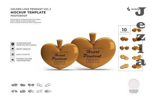 Valentine Golden Heart Pendant Mockup Template Bundle 2 - 1425584