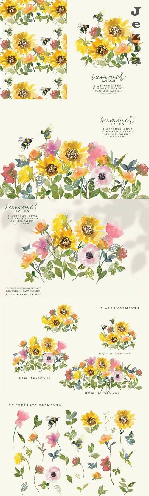 Watercolor Sunflower Clipart Set - 6235056