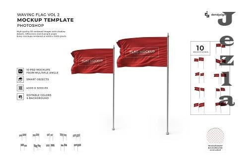 Waving Flag Mockup Template Bundle 2 - 1426053