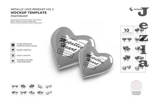 Metallic Valentine Love Heart Mockup Template Bundle 2 - 1425670