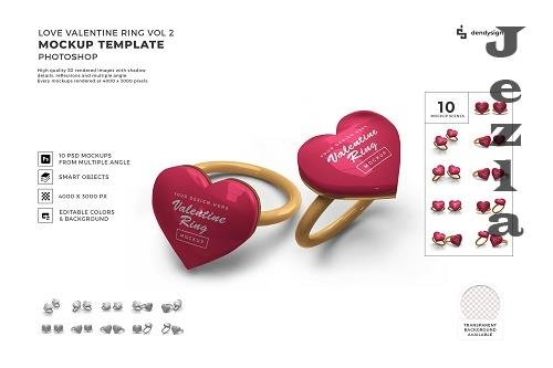 Valentine Love Heart Ring Mockup Template Bundle 2 - 1425606