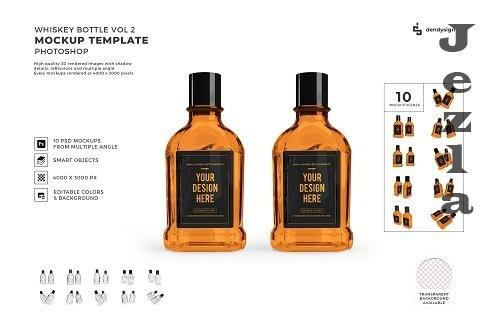 Whiskey Alcohol Glass Bottle Mockup Template Bundle 2 - 1426137