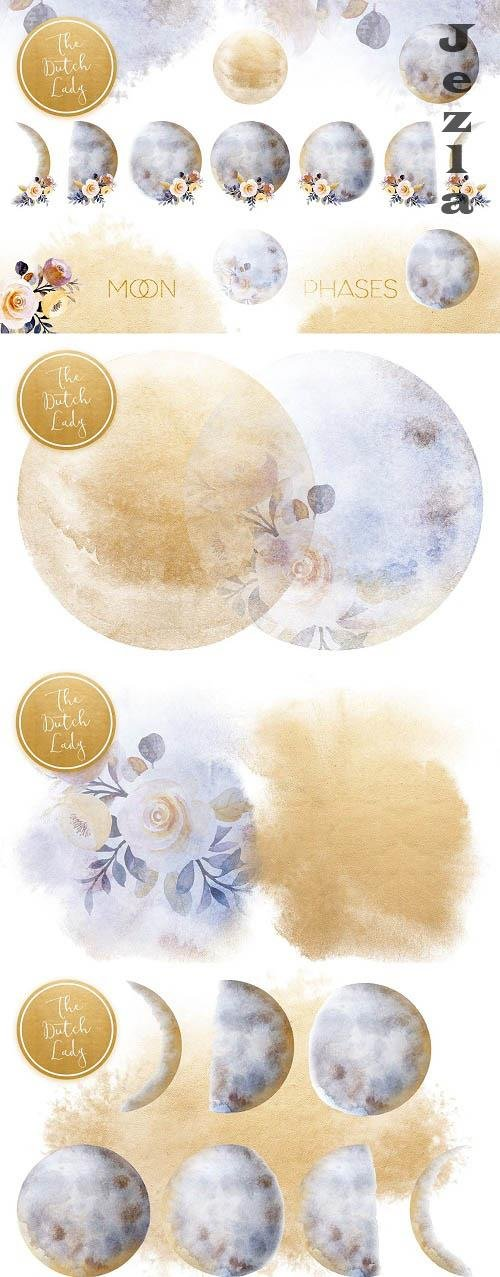 Floral Moon Phases Clipart Set - 6236461