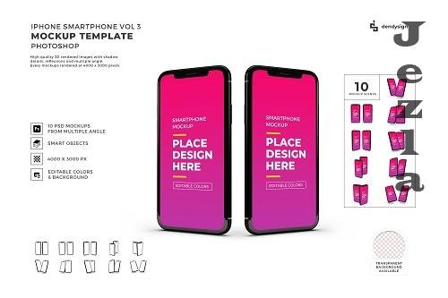 iPhone Smartphone Device Mockup Template Bundle 3 - 1408149