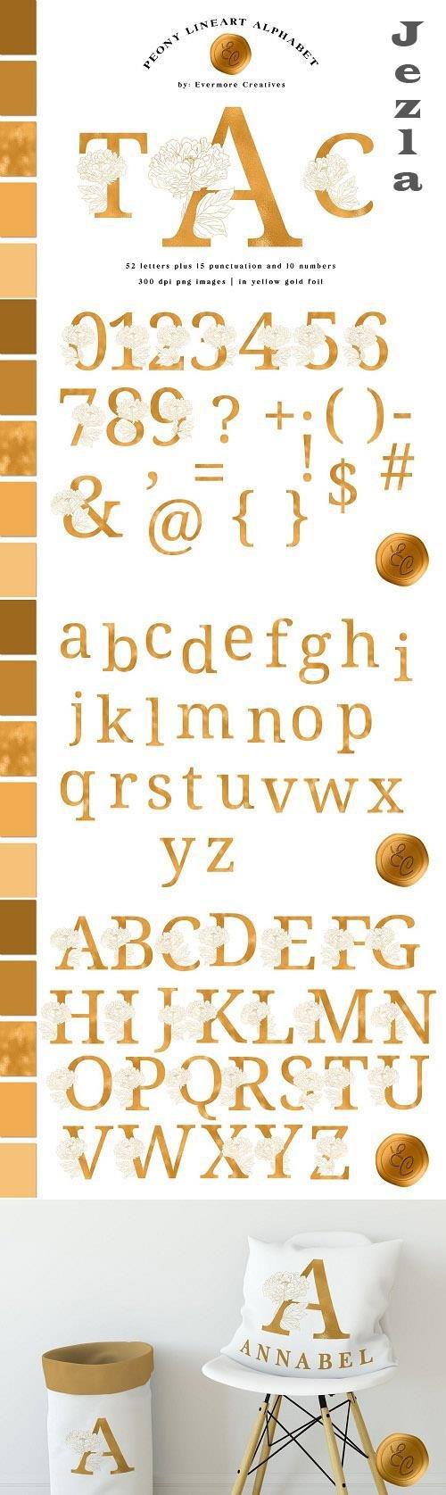 Line Art Peony Alphabet in Gold Foil - 6090219