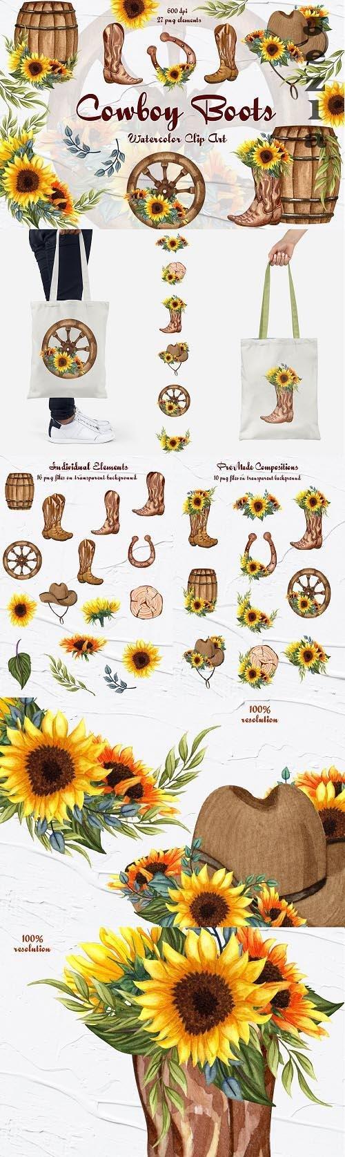 Cowboy Boots Clipart - 1411365