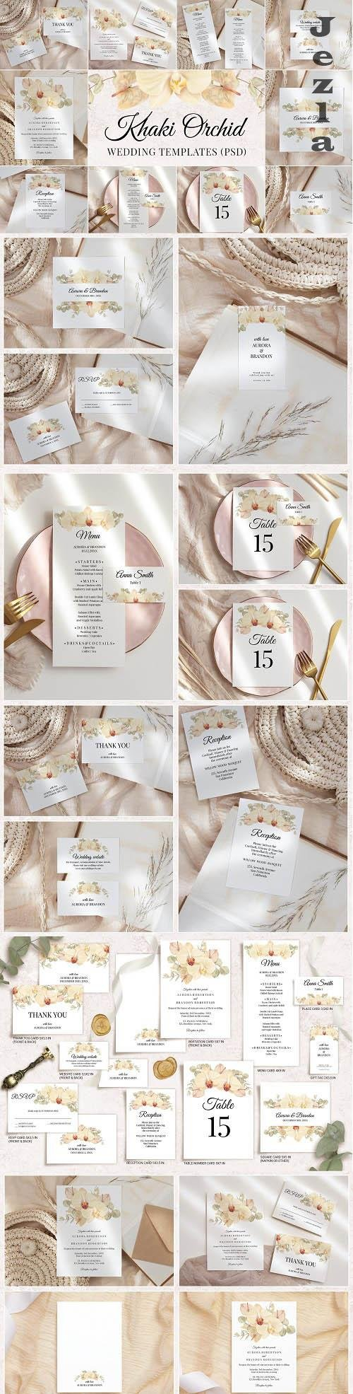 Boho Wedding Template Cards Floral Invitation Set - 1433764