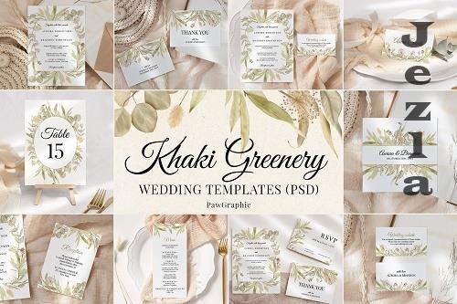 Greenery Wedding Template Cards Boho Invitation Set - 1434812