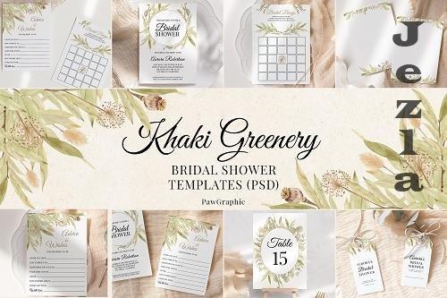 Greenery Bridal Shower Templates Cards Boho Invitation Suit - 1436799