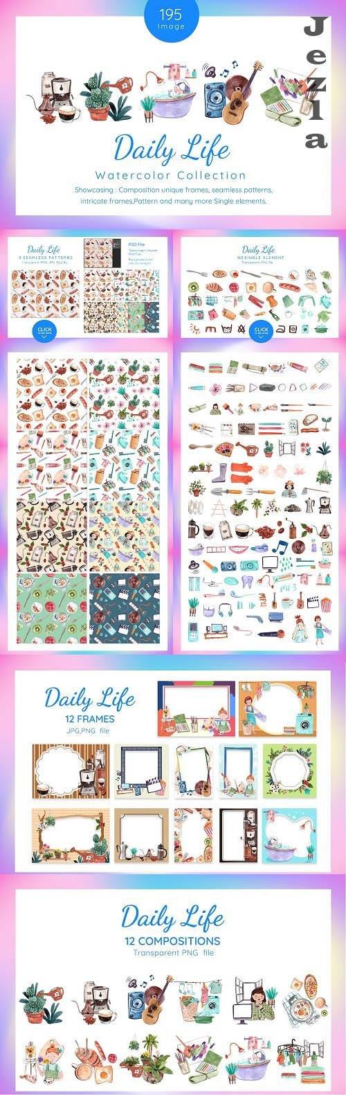 Daily Life at Home Watercolor - 6245881