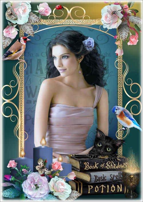Декоративная рамка для фото с нежными розами - Магические книги