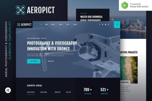 ThemeForest - Aeropict v1.0.0 - Drone Aerial Photography & Videography Elementor Template Kit - 32806664