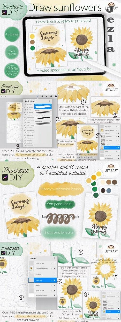 DIY Procreate watercolor. Sunflowers - 6093783