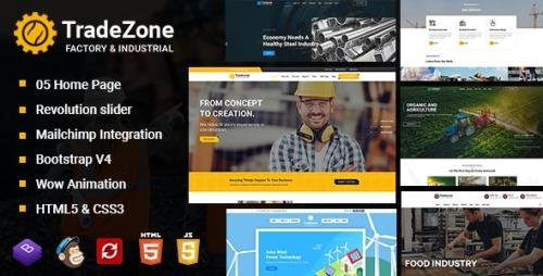 ThemeForest - TradeZone v1.0 - Factory & Industrial One Page HTML Template (Update: 10 April 20) - 25373796