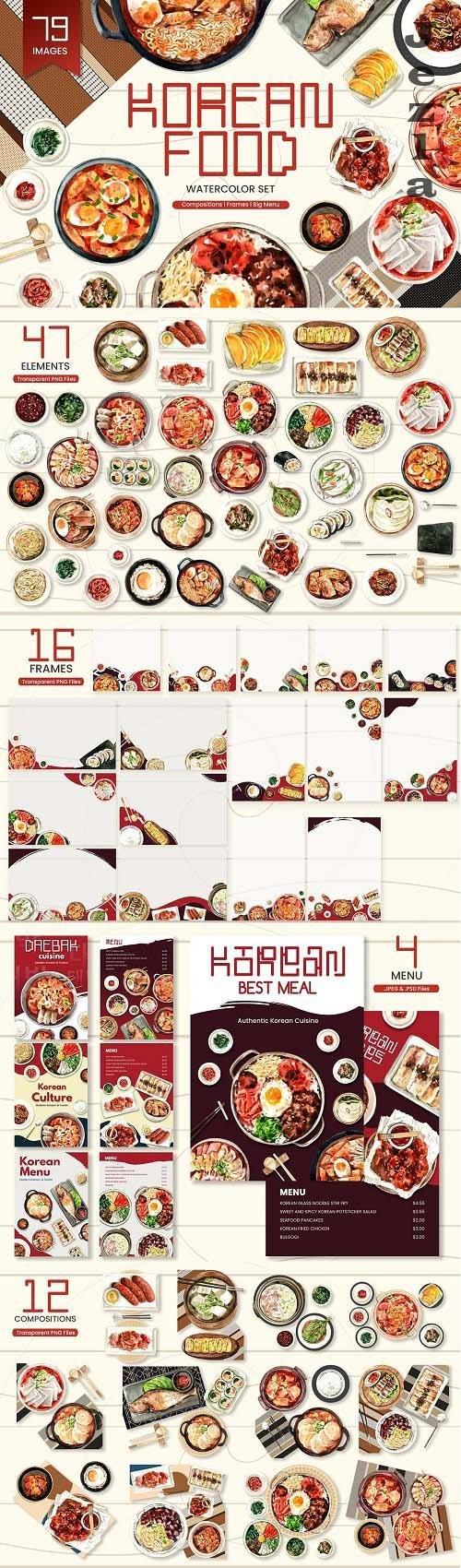 Korean Food,Asian Recipe watercolor - 6268926