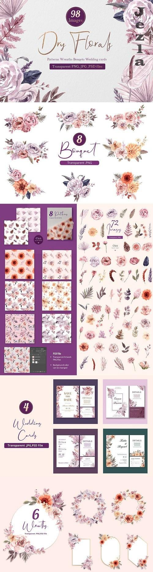 Dry Florals Illustration Watercolor - 6269121