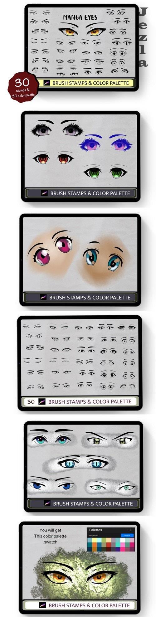Anime Eyes 30 Procreate Brush Stamps - 1447000