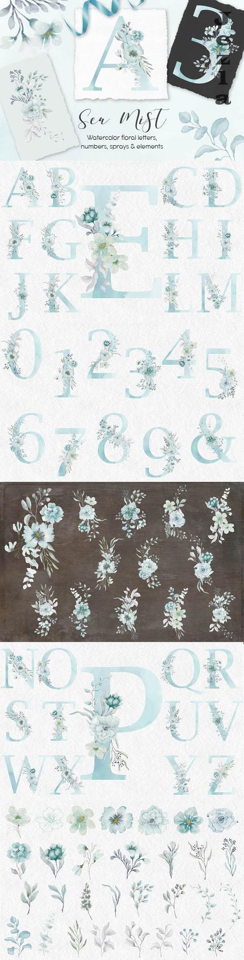 Sea Mist watercolor alphabet - 6221625