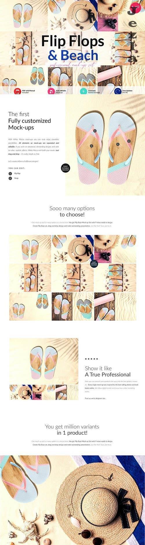 Flip Flops & Beach Mock-ups Set - 6195994