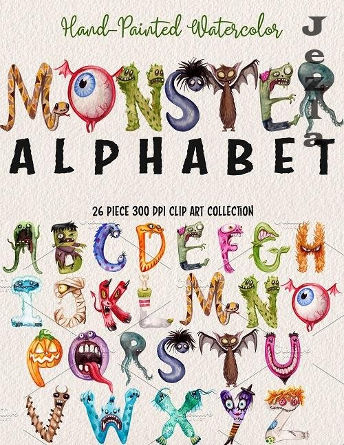 Watercolor Monster Alphabet - 2822840