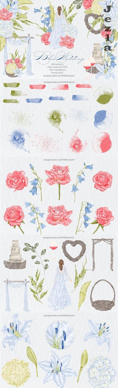 Vintage Blue Wedding Clipart Flowers Bride Orchid Rose - 1454777