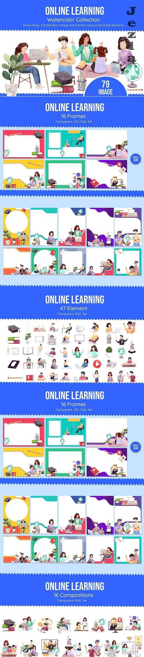 Online Learning at Home Watercolor - 6298058