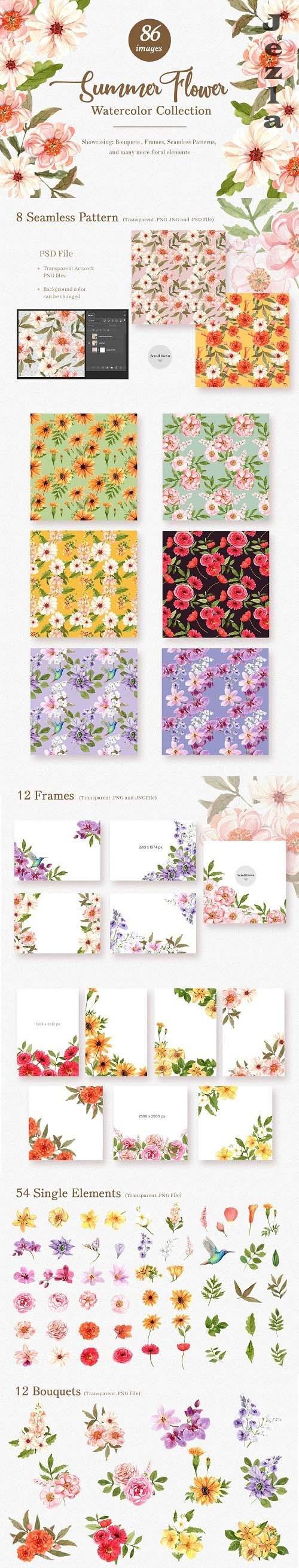 Summer Flower wedding watercolor - 6298125