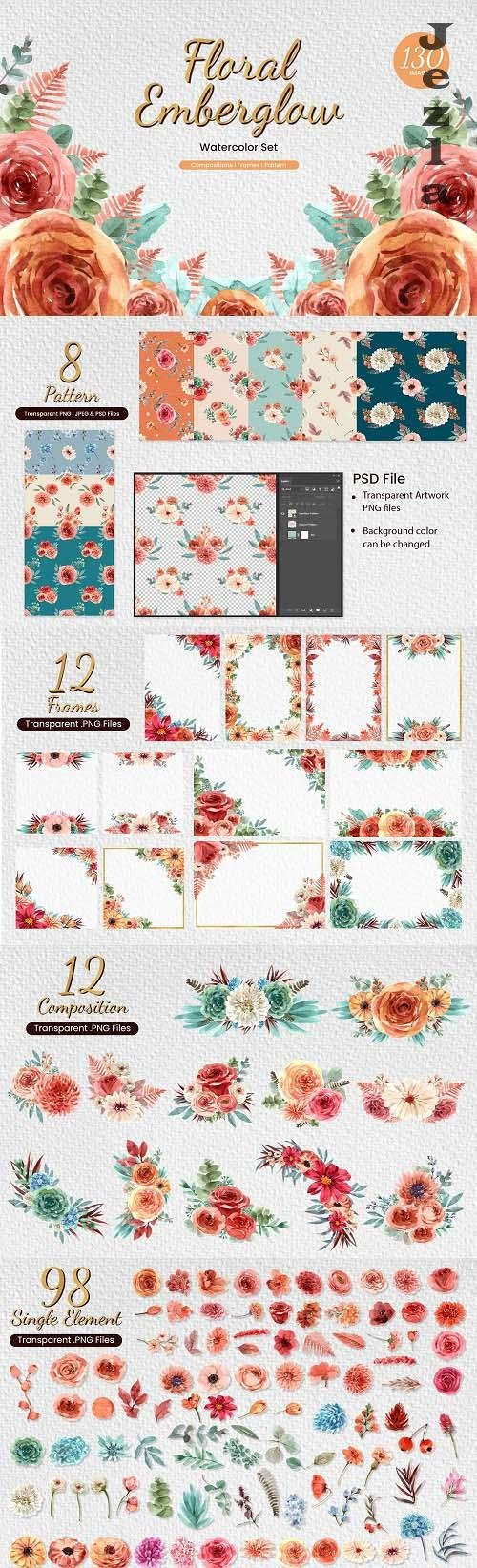 Floral Emberglow loose watercolor - 6298141