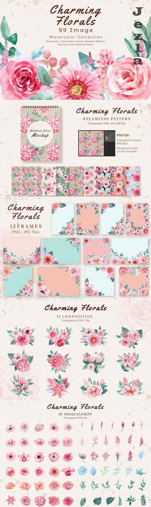 Charming Flowers of wedding watercolor - 6298138