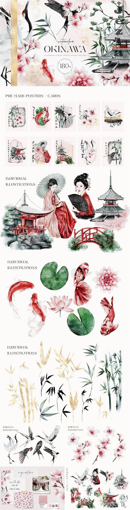 Japanese Oriental Huge Watercolor Collection and Patterns - 1464765