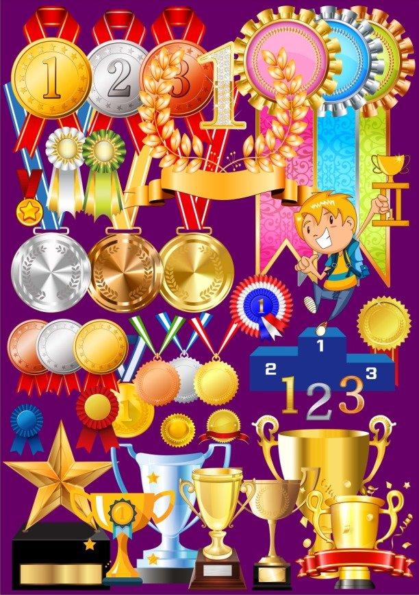 Клипарт: кубки, медали на прозрачном фоне.