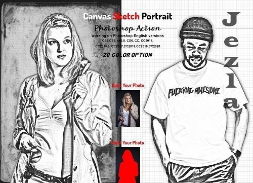 Canvas Sketch Portrait PS Action - 5970167