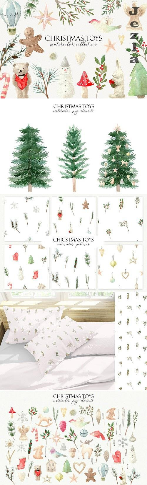 Watercolor Christmas Toys Collection - 6322386